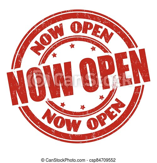 Now open sign or stamp - csp84709552
