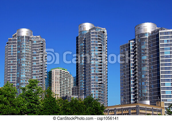 nowoczesny, kompleks, kondominium - csp1056141