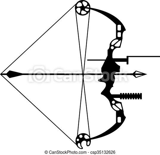 nowoczesny, polowanie, strzała, łuk - csp35132626