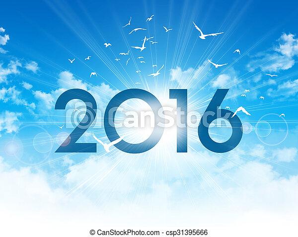 nowy, 2016, dzień, karta, powitanie - csp31395666