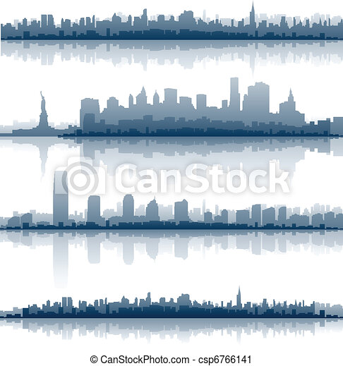 nowy, sylwetka na tle nieba, york, miasto - csp6766141
