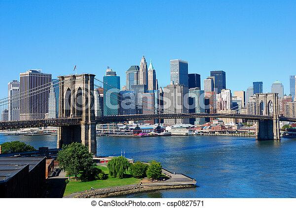 nowy, sylwetka na tle nieba, york, miasto - csp0827571