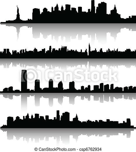 nowy, sylwetka, york, miasto - csp6762934