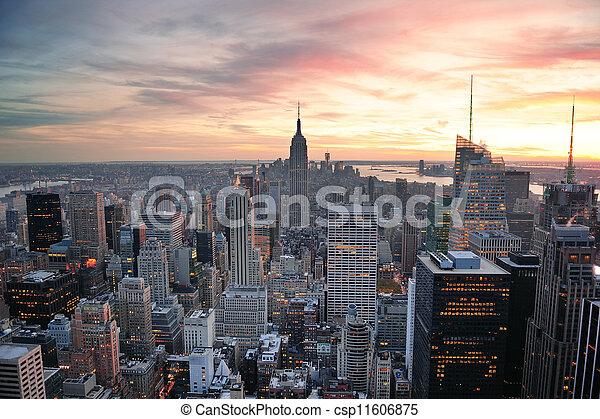 nowy, zachód słońca, york, miasto - csp11606875