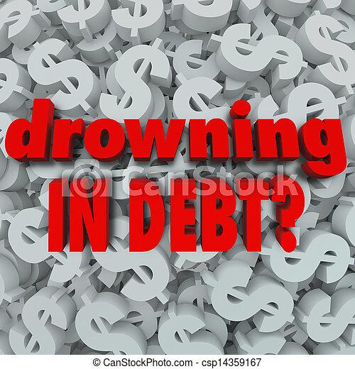 noyade, fond, signe dollar, mots, dette, faillite - csp14359167