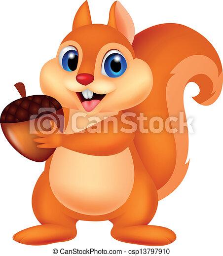 noz, esquilo, caricatura - csp13797910