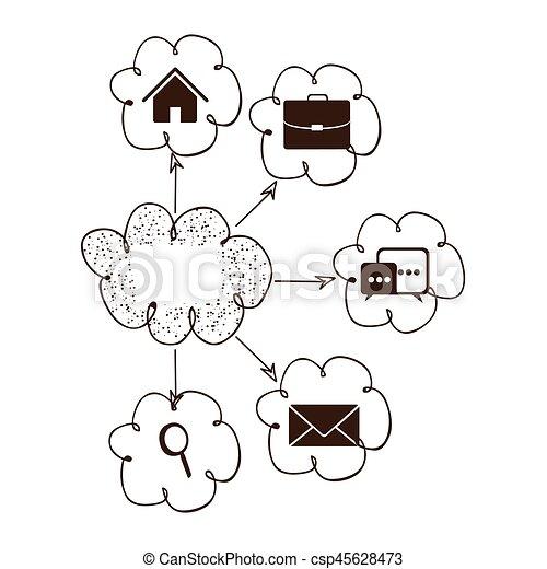 nuage, connexion, réseau, service, icônes - csp45628473
