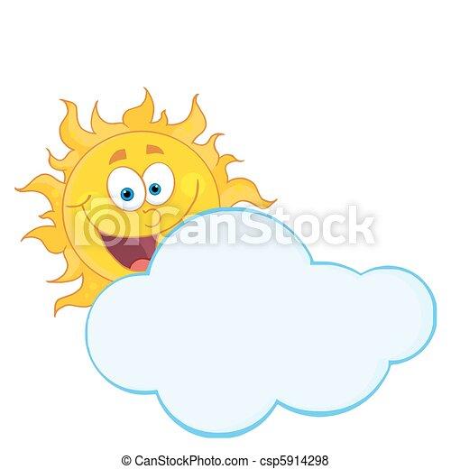 nuage, derrière, dissimulation, heureux, soleil - csp5914298