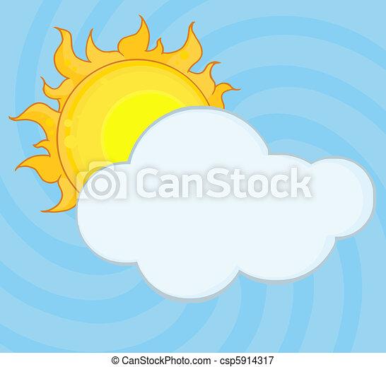 nuage, derrière, dissimulation, soleil brille - csp5914317