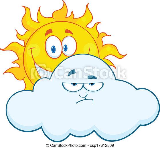 nuage, derrière, triste, soleil, sourire - csp17612509