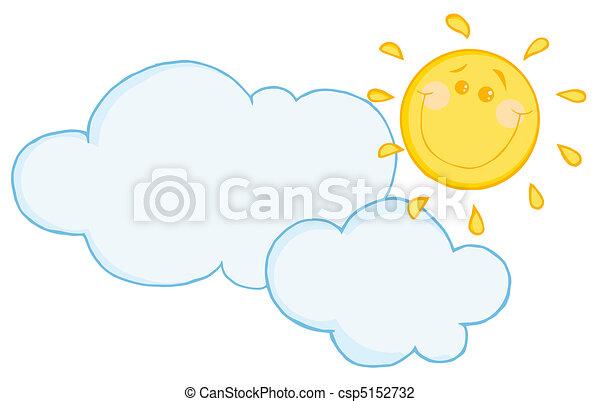 nuage, heureux, flotter, soleil, sous - csp5152732