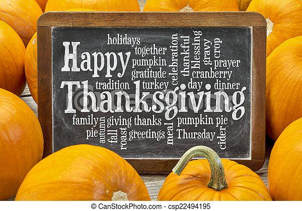 nuage, mot, heureux, thanksgiving - csp22494195