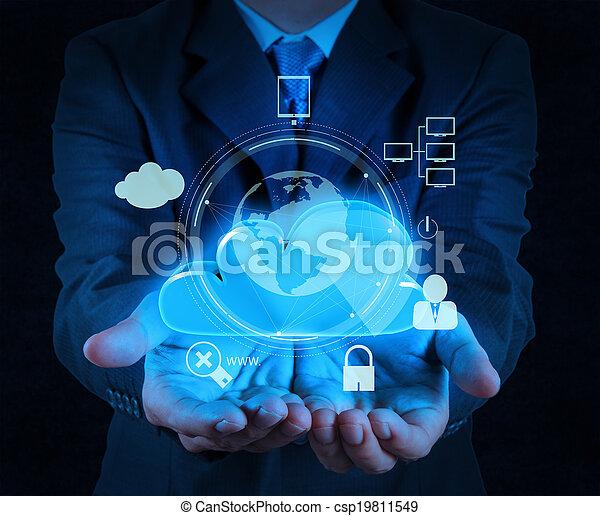 nuage, sécurité, business, homme affaires, toucher, internet, 3d, icône ordinateur, écran, ligne, main, concept - csp19811549