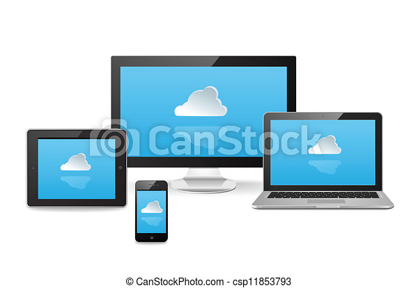 nuage, synchro, appareils, travers - csp11853793