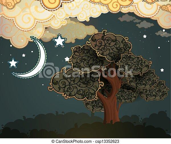 nuages, arbre, dessin animé, lune - csp13352623