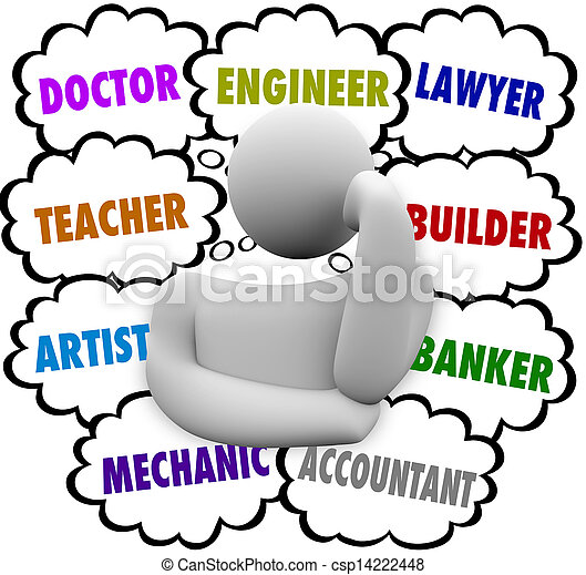 nuages, carrière, choix, pensée, penseur, demander, occupation - csp14222448