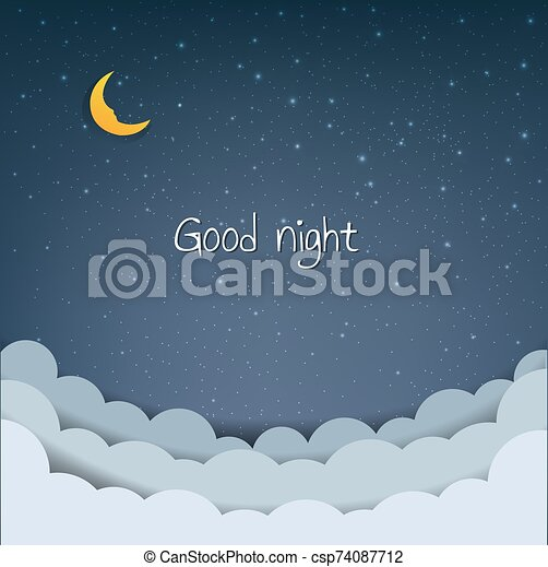 nuages, dessin animé, ciel, étoiles - csp74087712