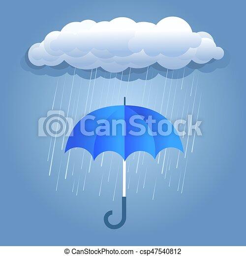 nuages sombres, parapluie, pluie - csp47540812