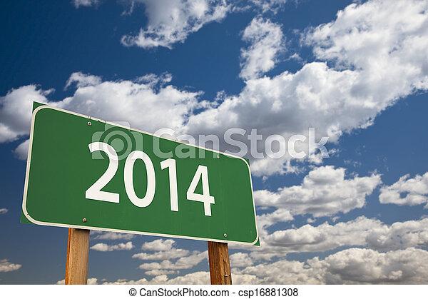 nuages, sur, signe, vert, 2014, route - csp16881308