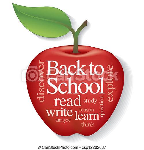 De vuelta a la escuela palabra de manzana nube - csp12282887