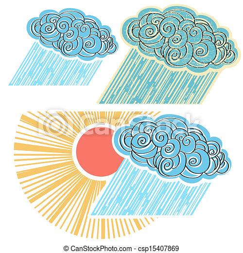 Nube con lluvia aislada para el diseño. Simbolo del vector ilustrado - csp15407869