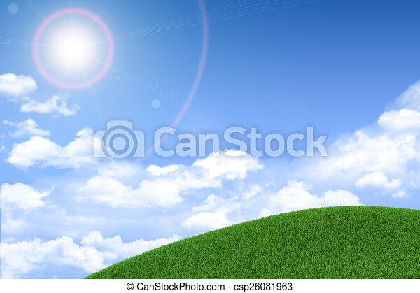 nubes, herboso, sol, fondo verde, hill. - csp26081963
