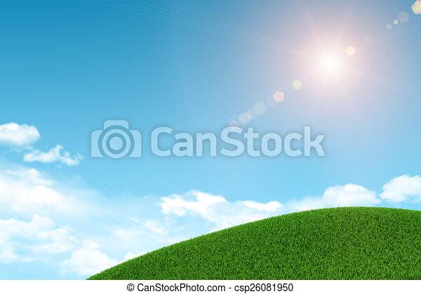nubes, herboso, sol, fondo verde, hill. - csp26081950