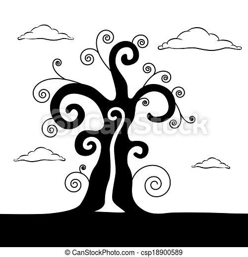 Vector abstracto ilustración de árboles negros con nubes - csp18900589