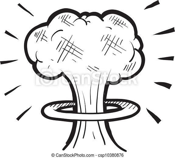 Nuclear mushroom sketch - csp10380876