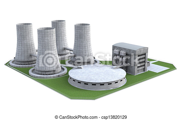 nuclear power plant isolated on white background. 3d render.