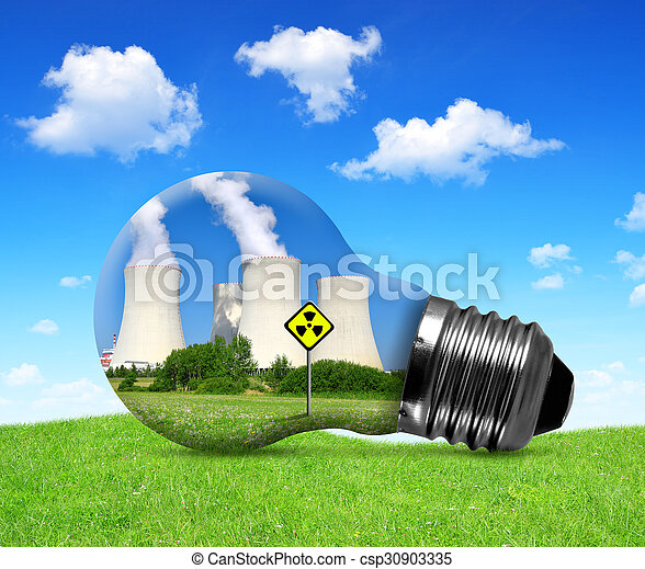 Nuclear power plant in bulb. - csp30903335