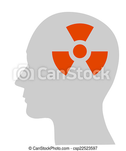 nuclear symbol in human head - csp22523597