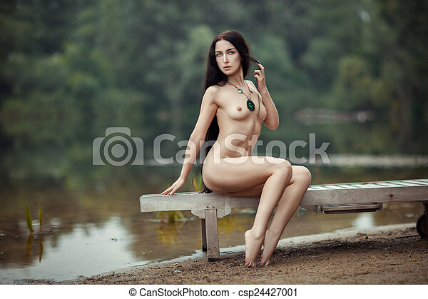 Naked girl at lake