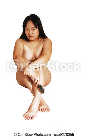 Young nude asian girls on white background your