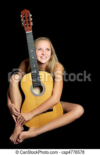 Nude woman and guitar foto 547