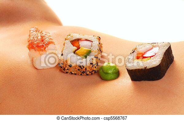 nude, kvinde, mave, sushi - csp5568767