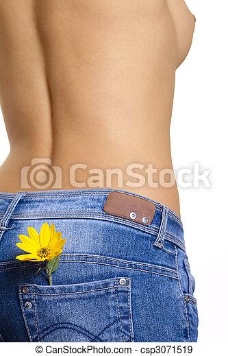 nude, pige blomst, gul - csp3071519