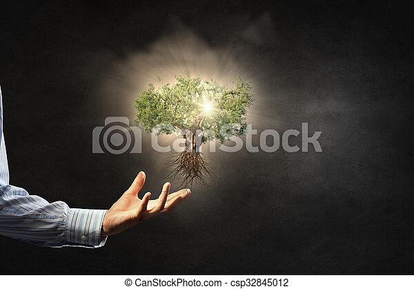 Protección de la naturaleza en nuestras manos - csp32845012
