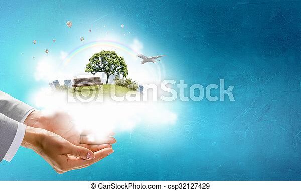 Vida verde en nuestras manos - csp32127429