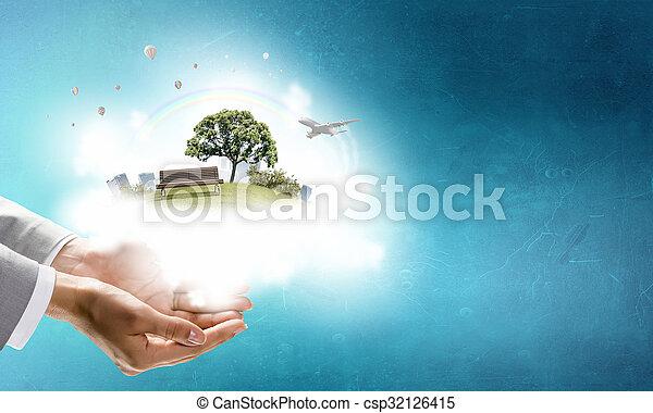 Vida verde en nuestras manos - csp32126415