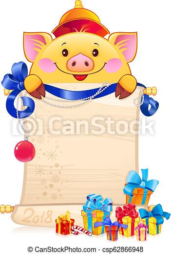 El cerdo terroso amarillo es un símbolo del nuevo año 2019. - csp62866948