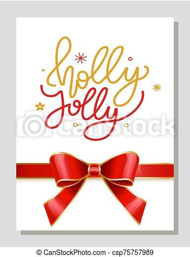 nuevo, alegre, tarjeta, saludo, navidad, año, acebo - csp75757989