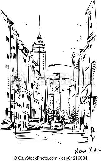 Calle New York, vector de boceto - csp64216034