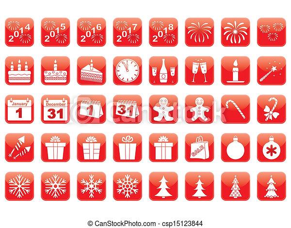 Un conjunto de iconos de año nuevo - csp15123844