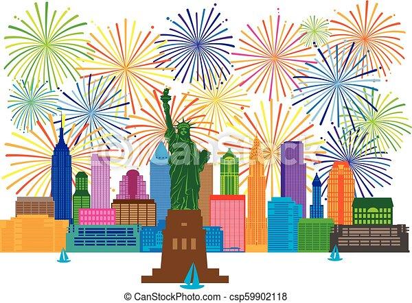 Una ilustración de fuegos artificiales de Nueva York - csp59902118
