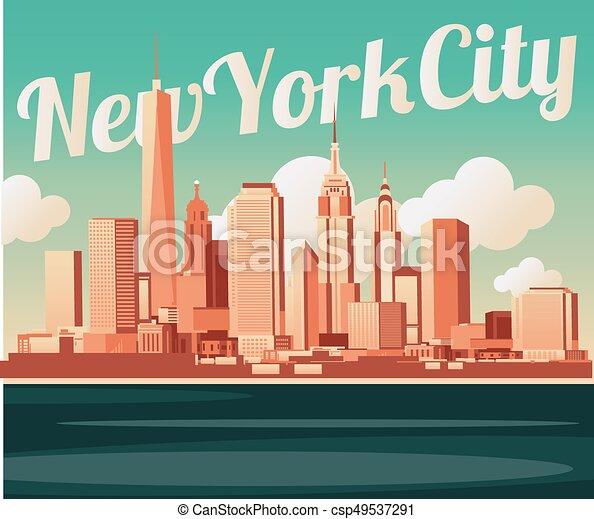 El horizonte de la ciudad de Nueva York - csp49537291