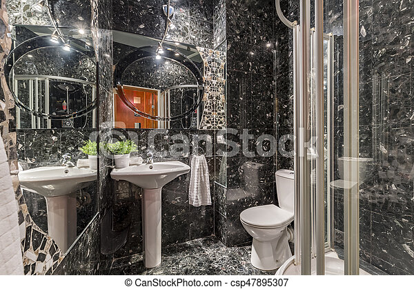 Nuevo, cuarto de baño, diseño, azulejos, negro. Espejo cuarto baño ...