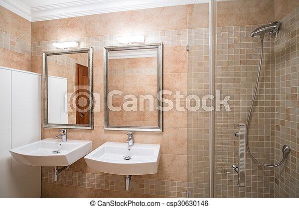 Nuevo, cuarto de baño, diseño, lujoso. Cuarto de baño, imagen ...