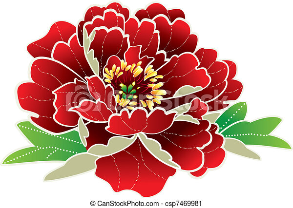 nuevo, flor, chino, año - csp7469981