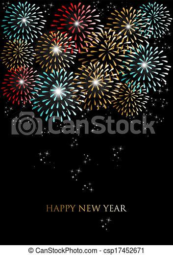 Feliz año nuevo con los fuegos artificiales - csp17452671